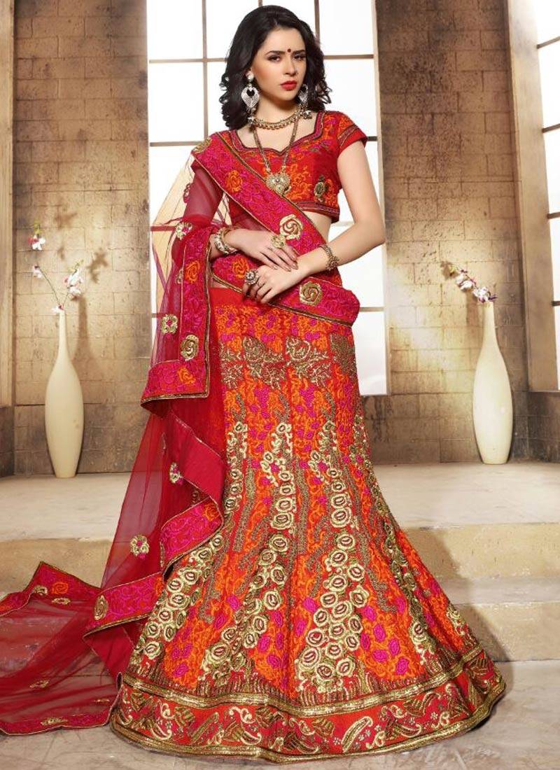 Distinctively Stone And Resham Work Bridal Lehenga Choli