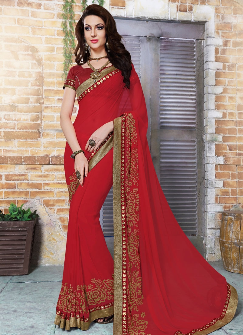 Distinctively Stone Work Faux Georgette Party Wear Saree