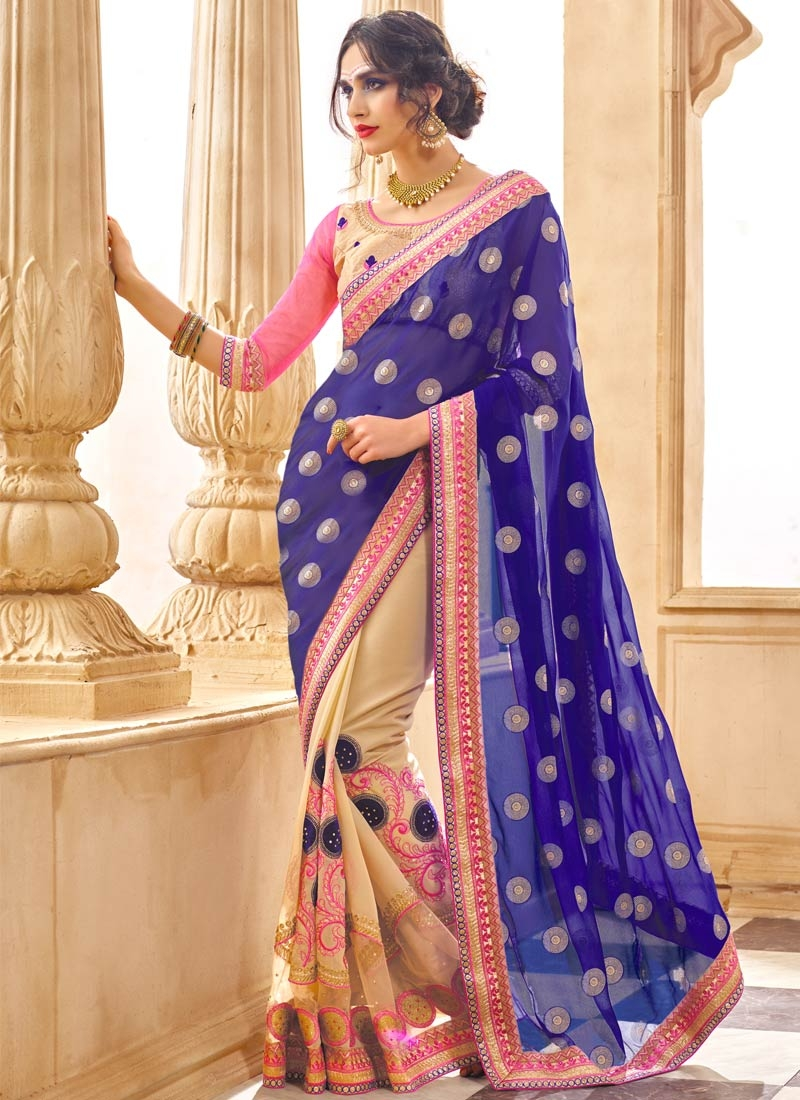 Distinctively Stone Work Navy Blue Color Half N Half Party Wear Saree