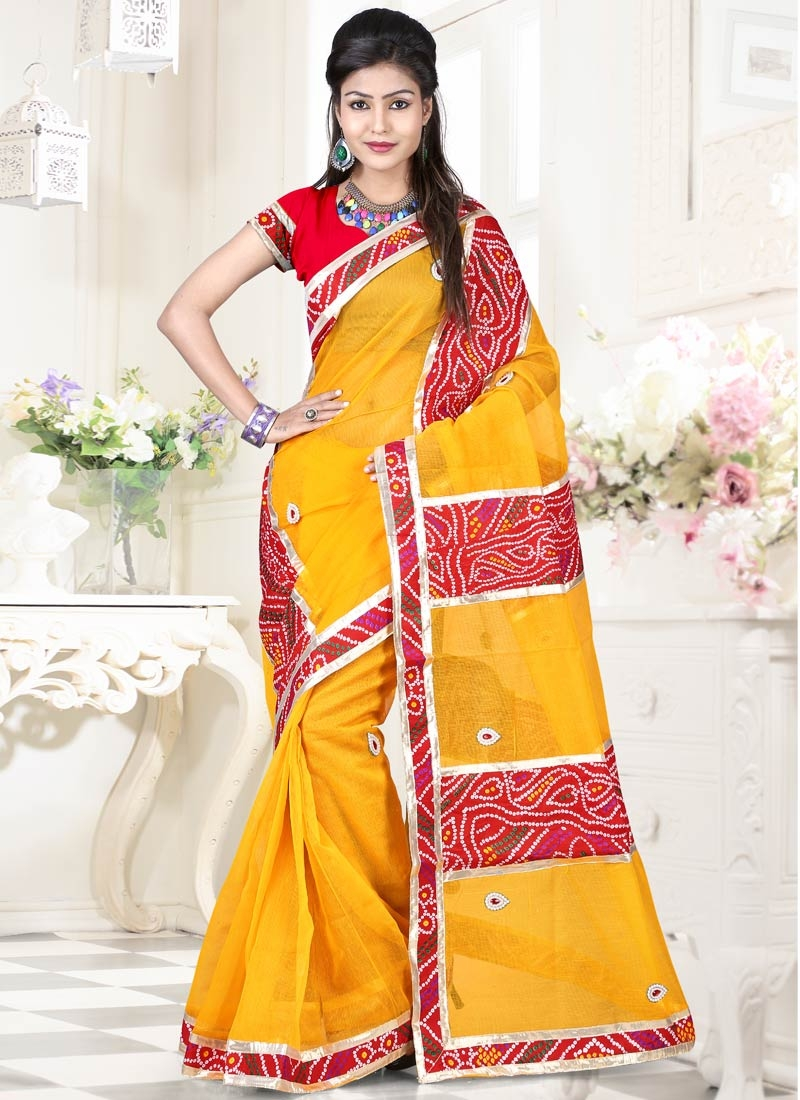 Distinctively Yellow Color Net Casual Saree