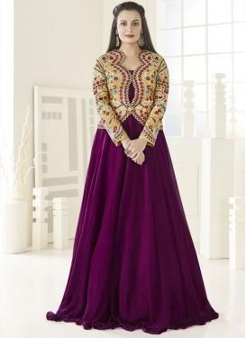Distinguishable Aari Work Dia Mirza Jacket Style Salwar Kameez
