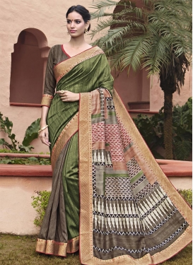Distinguishable Art Silk Lace Work Trendy Saree For Ceremonial
