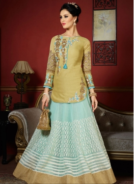 Distinguishable  Beige and Light Blue Kameez Style Lehenga For Ceremonial