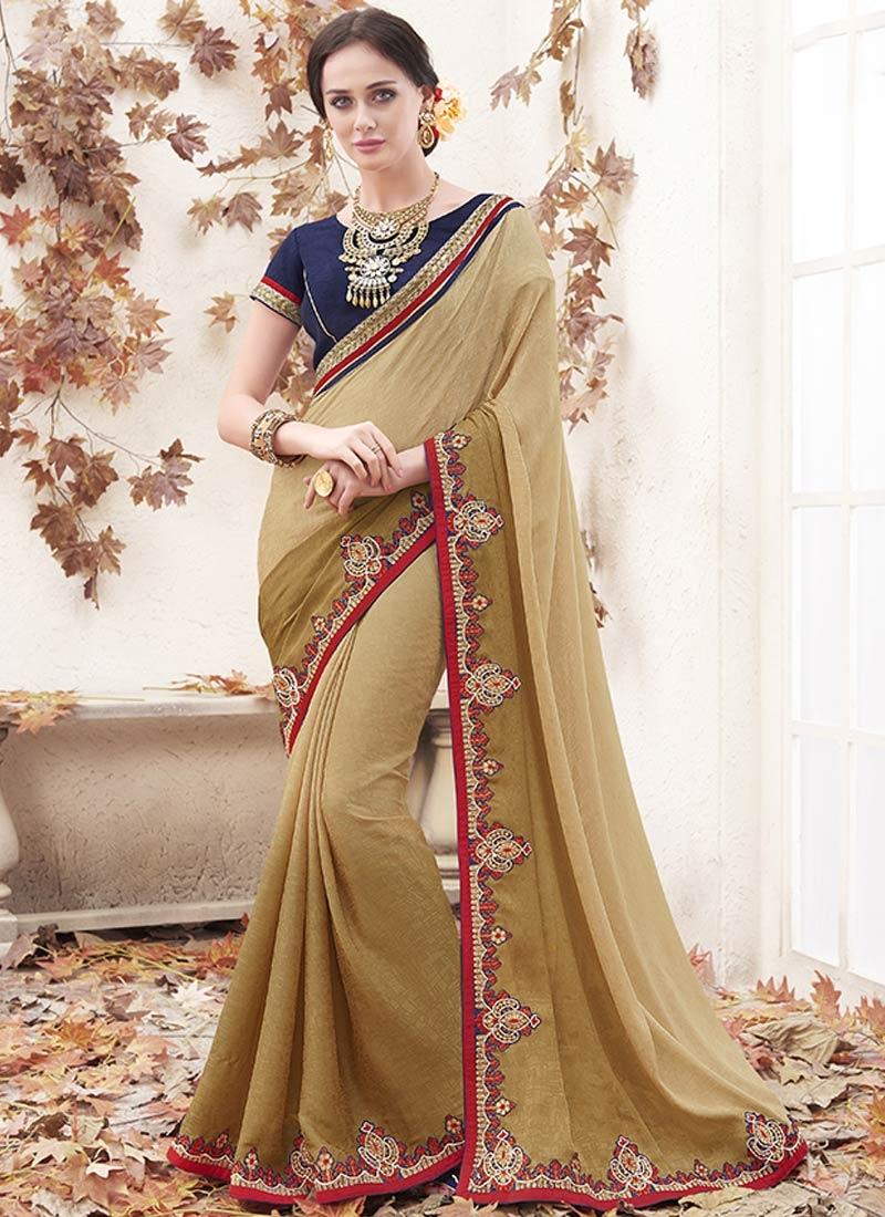 Distinguishable Beige Color Party Wear Saree