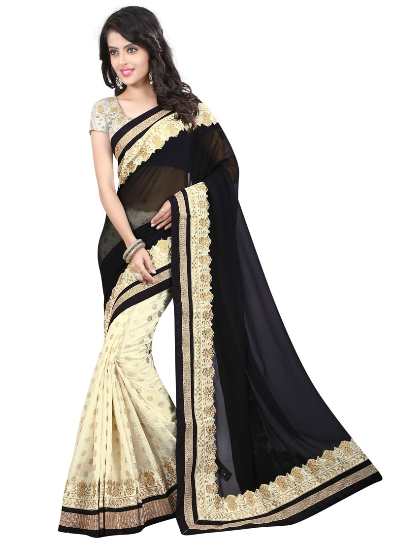 Distinguishable Black And Cream Color Half N Half Designer Saree