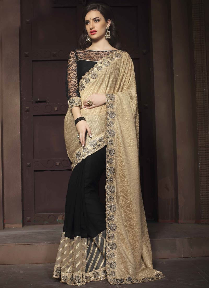 Distinguishable Black Color Crush Half N Half Designer Saree