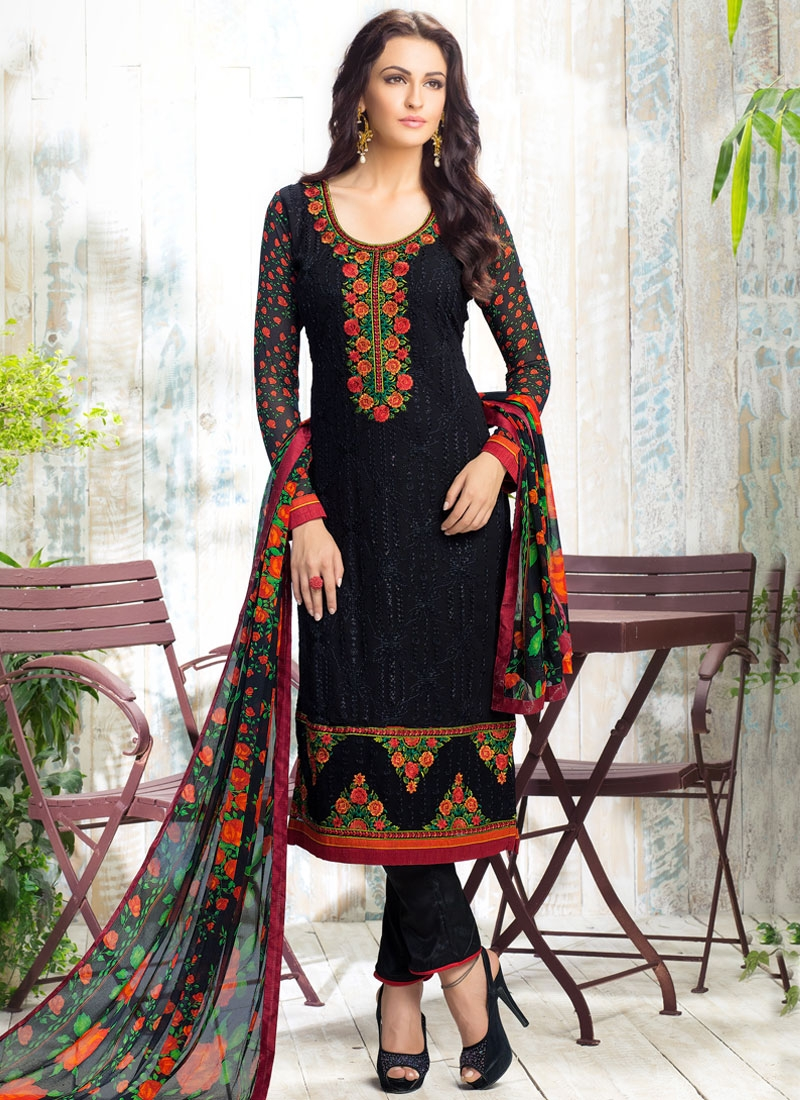 Distinguishable Black Color Pant Style Party Wear Salwar Suit