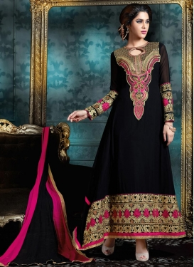 Distinguishable Black Long Length Pakistani Salwar Suit