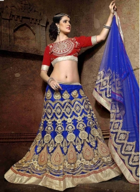 Distinguishable Blue Color Resham Work Wedding Lehenga Choli