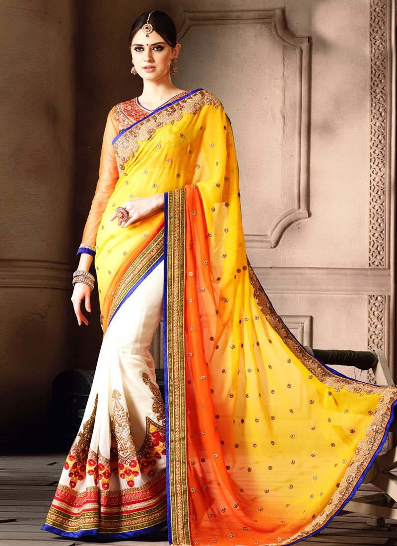 Distinguishable Booti And Floral Work Half N Half Wedding Saree