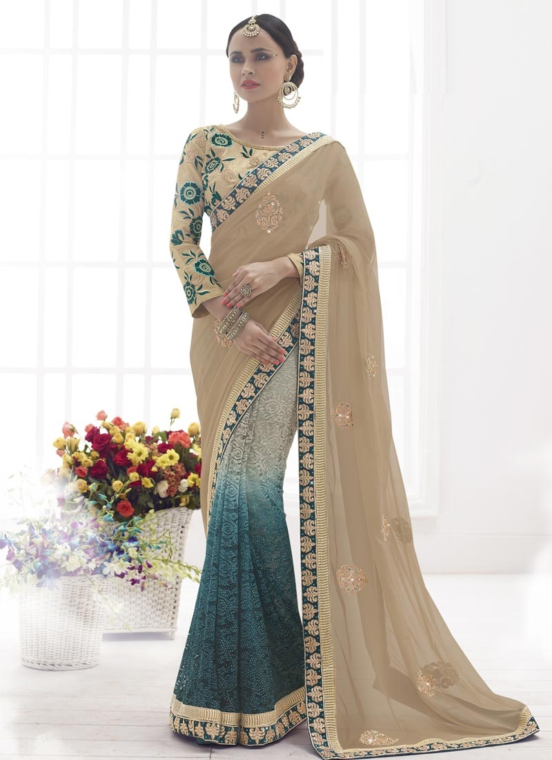 Distinguishable Booti And Stone Work Half N Half Designer Saree