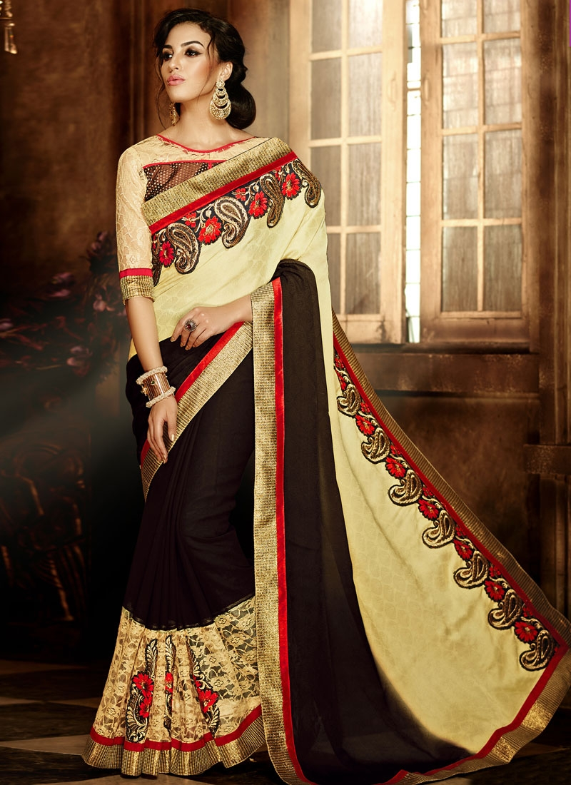 Distinguishable Booti Work Half N Half Party Wear Saree