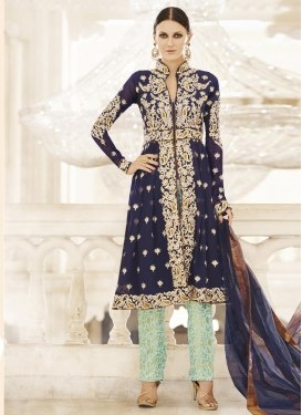 Distinguishable Booti Work Navy Blue and Turquoise Faux Georgette Pant Style Designer Salwar Suit