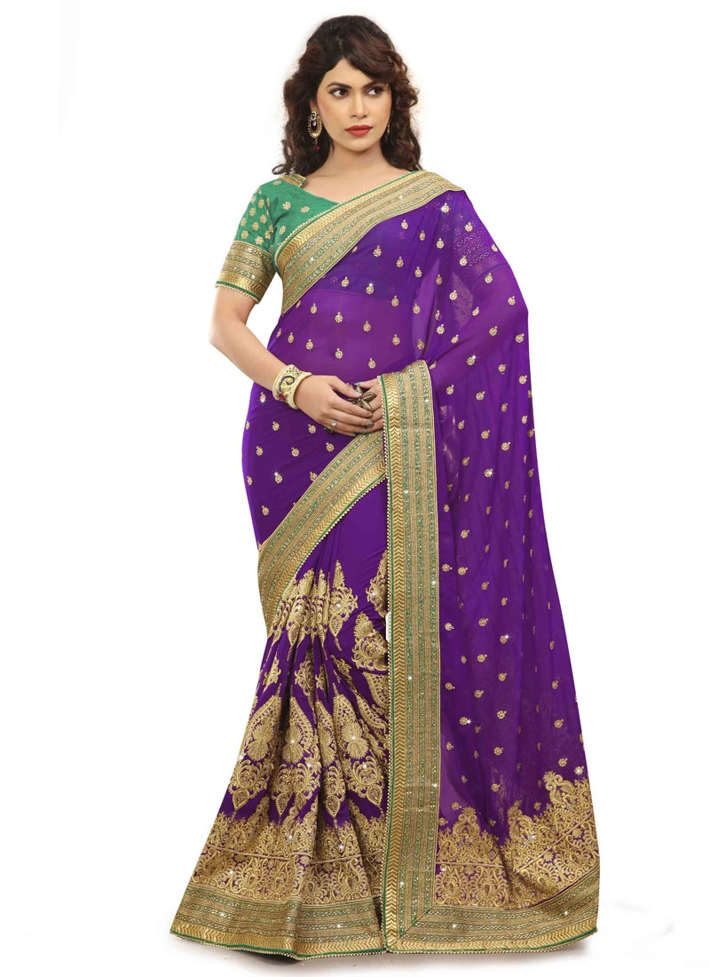Distinguishable Booti Work Purple Color Party Wear Saree