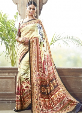 Distinguishable Cream Color Digital Print Work Party Wear Saree