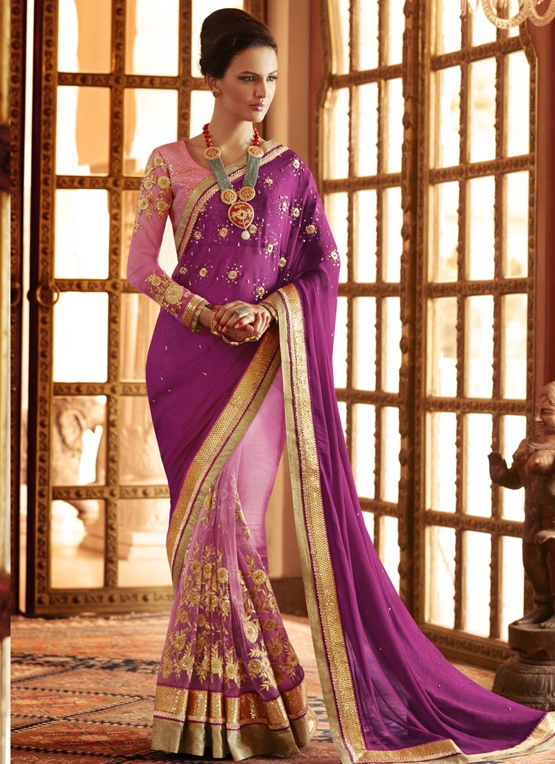 Distinguishable Embroidery Work Half N Half Wedding Saree