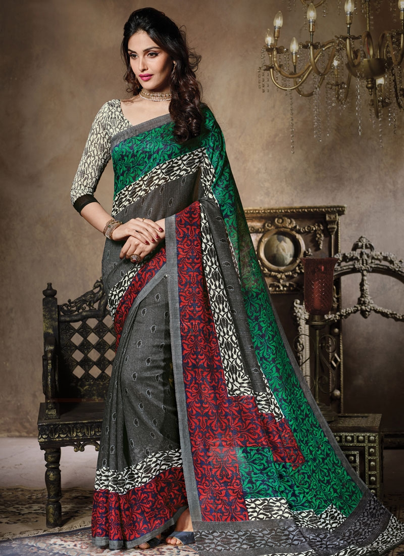 Distinguishable Grey Color Art Silk Casual Saree