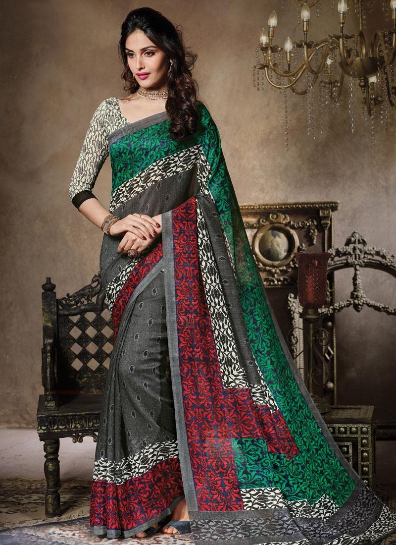 Distinguishable Grey Color Art Silk Casual Saree