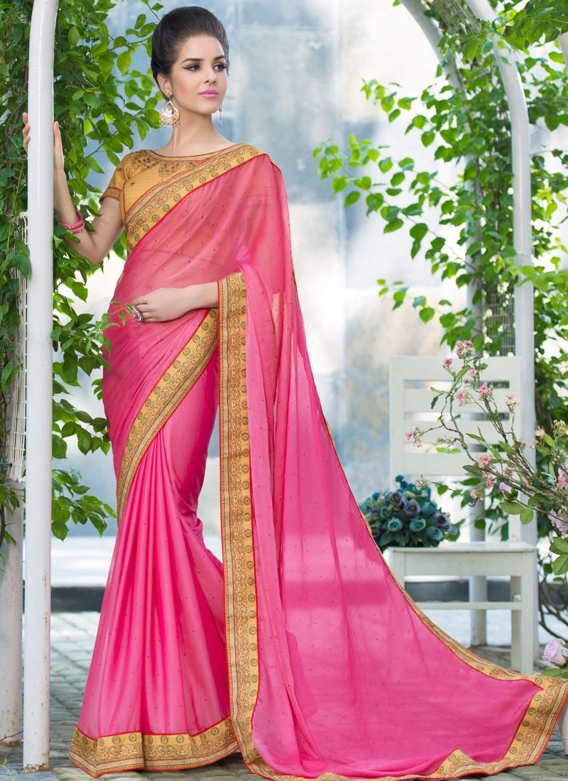Distinguishable Hot Pink Color Party Wear Saree