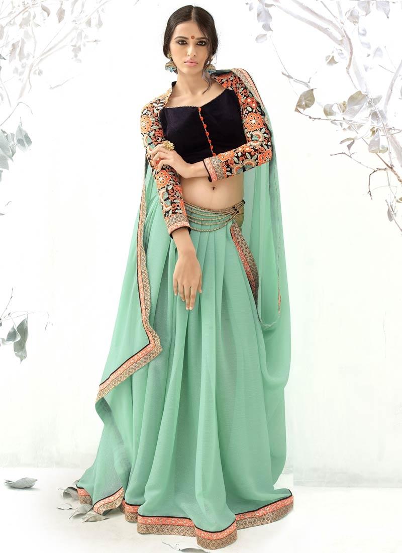 Distinguishable Lace Work Chiffon Party Wear Saree