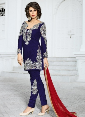 Distinguishable Net Pant Style Salwar Kameez
