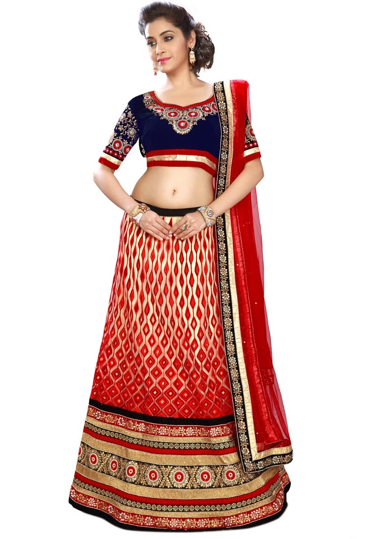 Distinguishable Net Resham Work Bridal Lehenga Choli