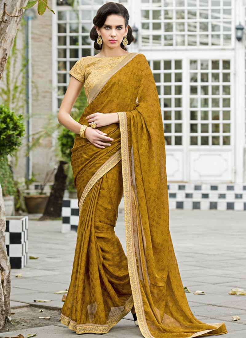 Distinguishable Printed Lace Work Party Wear Saree