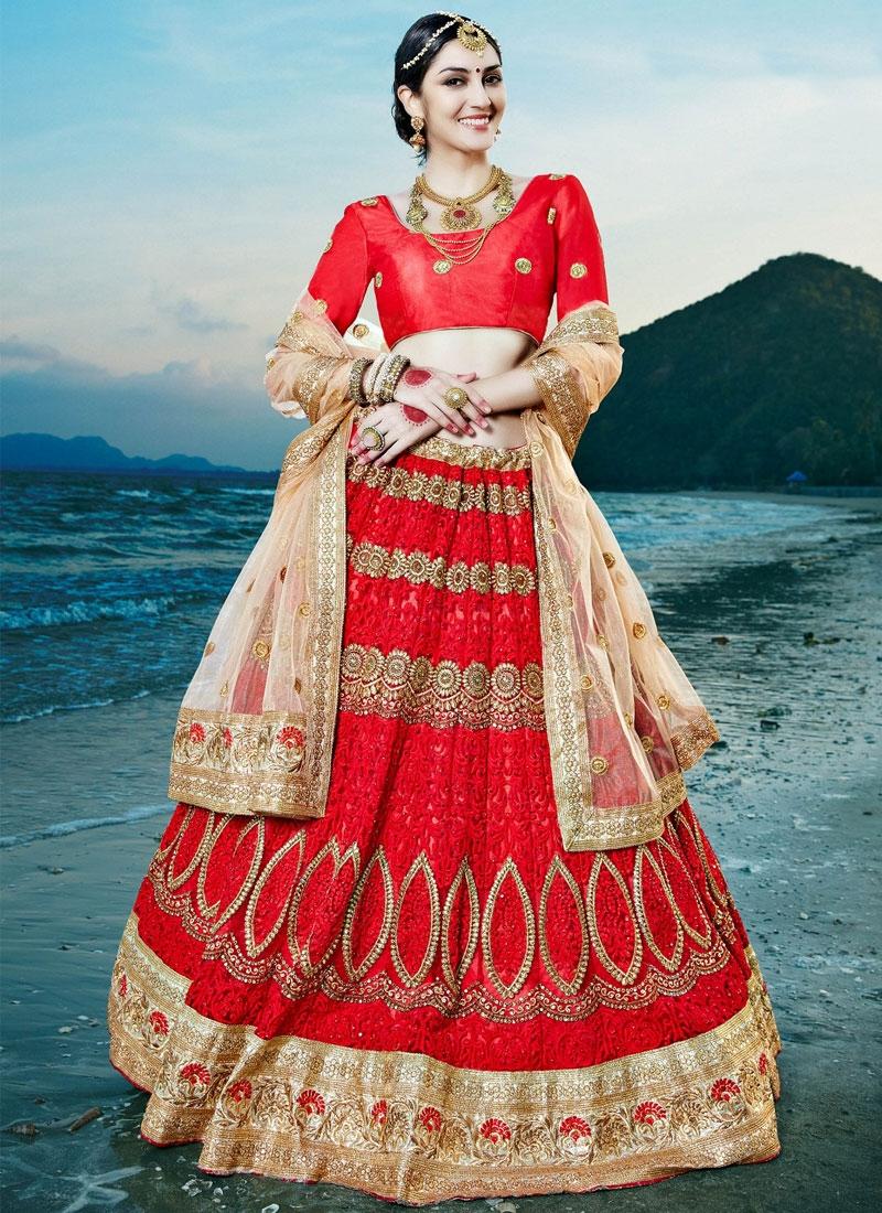 Distinguishable Red Color Stone Work Net Bridal Lehenga Choli