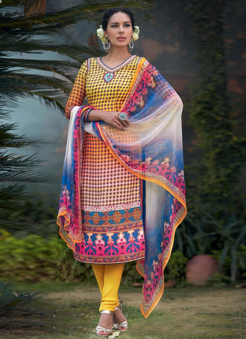 Distinguishable Resham Work Churidar Salwar Kameez