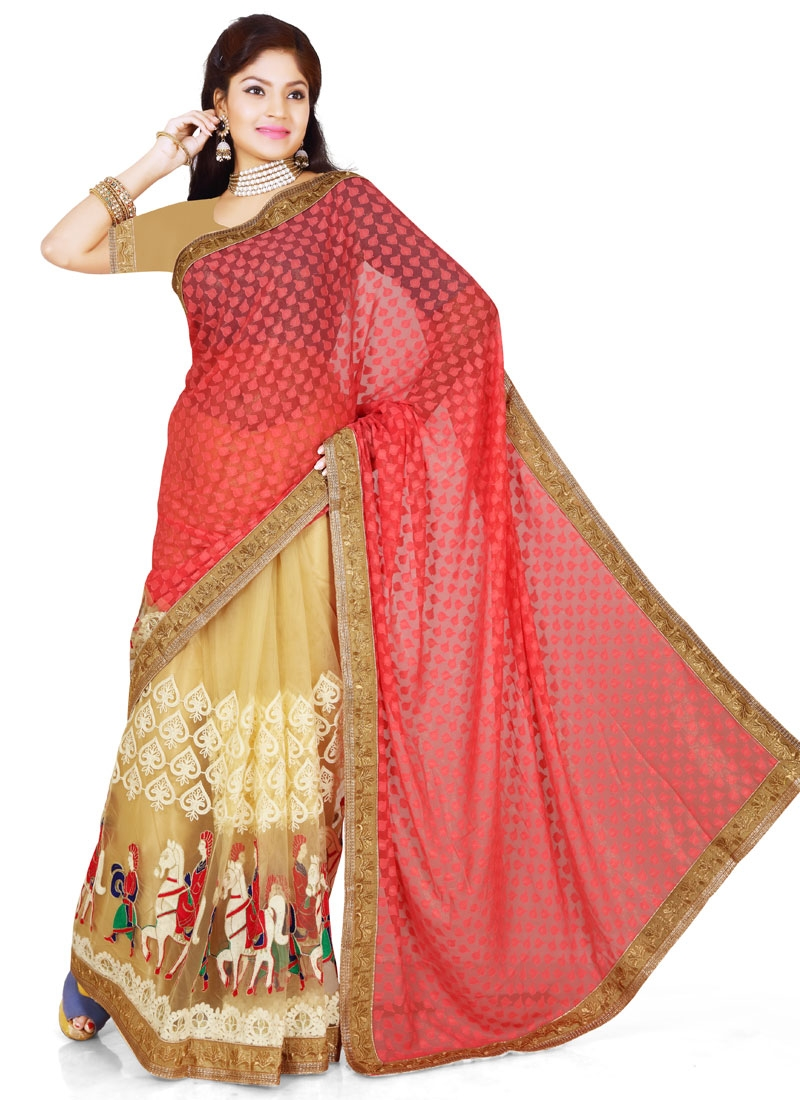 Distinguishable Resham Work Half N Half Designer Saree
