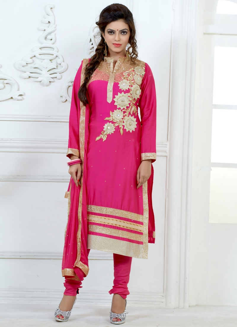 Distinguishable Rose Pink Color Churidar Suit