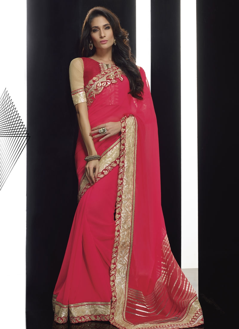 Distinguishable Sequins Work Rose Pink Color Designer Saree
