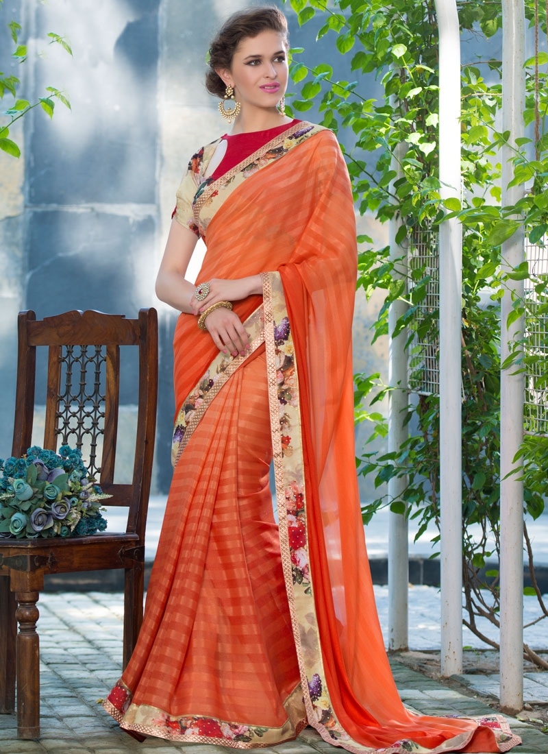 Distinguishable Stone Work Orange Color Party Wear Saree