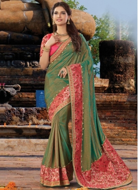 Divine Beads Work Designer Traditional Saree For Festival