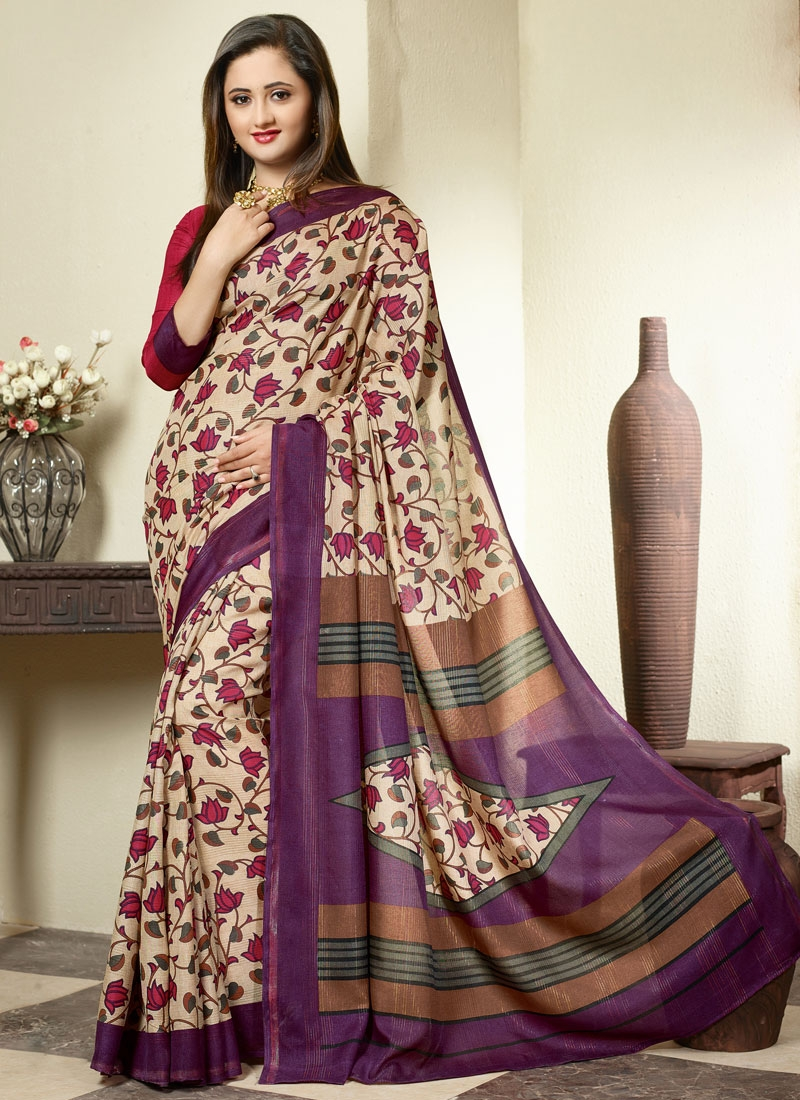 Divine Cream And Purple Color Rashami Desai Casual Saree