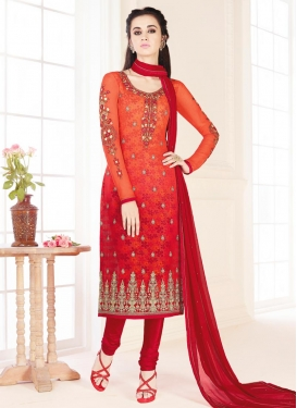 Divine Faux Georgette Churidar Salwar Kameez For Ceremonial