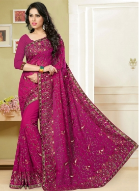 Divine Faux Georgette Lace Work Wedding Saree