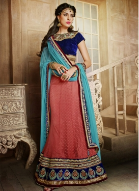 Divine Salmon Color Net Wedding Lehenga Choli