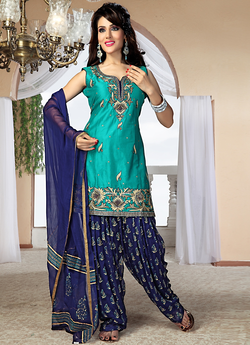 Divine Turquoise And Navy Blue Patiala Suit