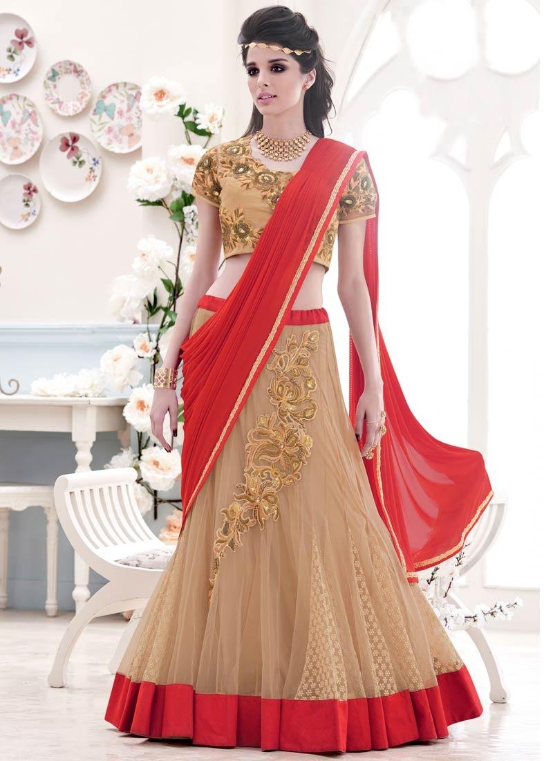 Divine Zardosi And Sequins Work Bridal Lehenga Saree