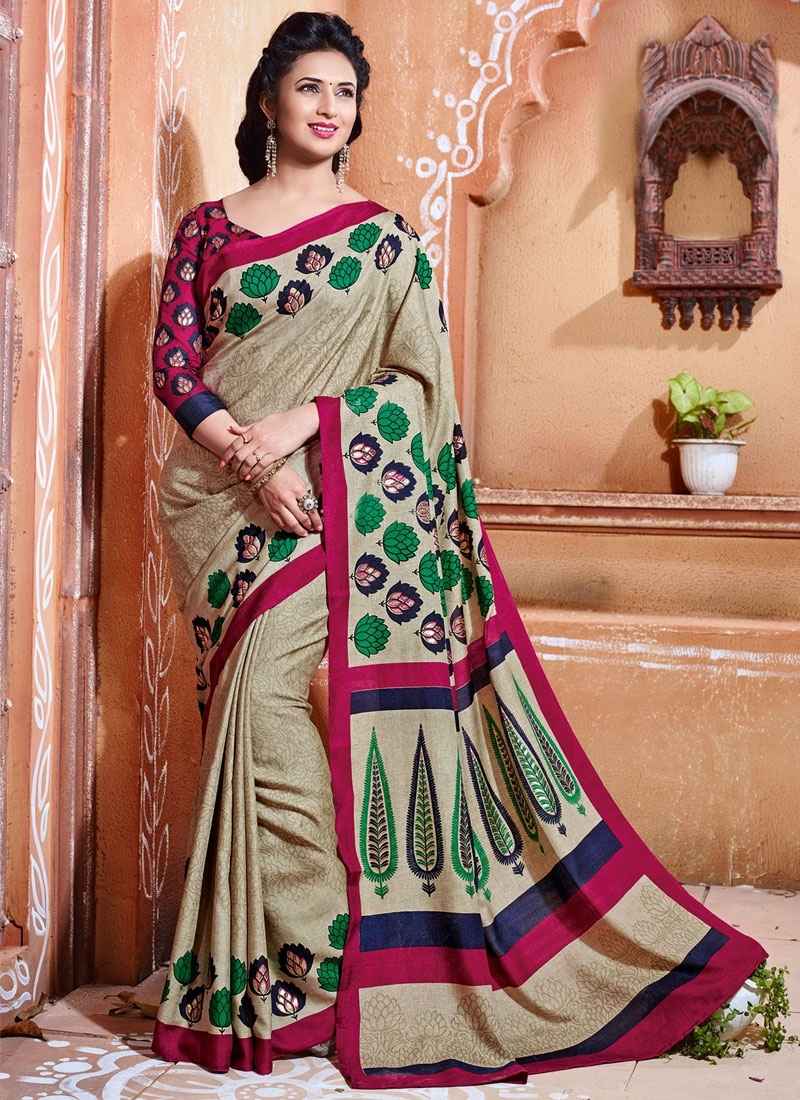 Divyanka Tripathi Beige Color Printed Casual Saree