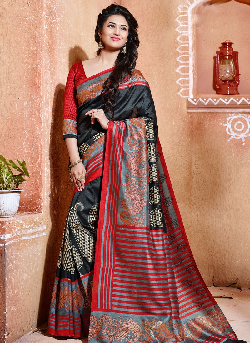Divyanka Tripathi Black Color Art Silk Casual Saree