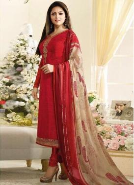 Drashti Dhami Crepe Silk Embroidered Work Pakistani Salwar Suit