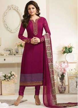 Drashti Dhami Crepe Silk Embroidered Work Pakistani Straight Salwar Suit