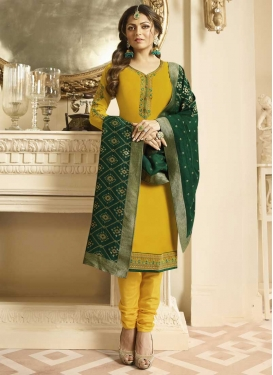 Drashti Dhami Embroidered Work Churidar Salwar Kameez