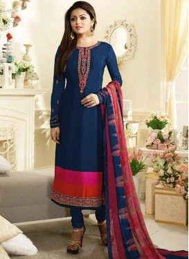 Drashti Dhami Embroidered Work Pakistani Straight Salwar Kameez
