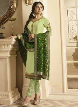 Drashti Dhami Embroidered Work Trendy Churidar Salwar Kameez