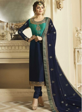 Drashti Dhami Navy Blue and Sea Green Long Length Pakistani Salwar Suit