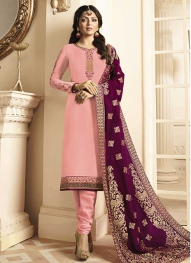 Drashti Dhami Satin Georgette Embroidered Work Churidar Salwar Suit