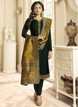 Drashti Dhami Satin Georgette Embroidered Work Trendy Churidar Suit